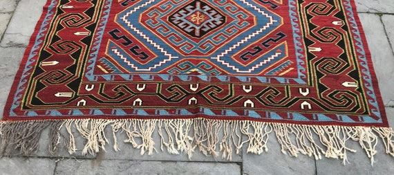 "Vintage Kilim, rare 19th century Avar Kilim 5'6"" x 11' ( 14 to end of fringe) Caucasian Kilim, vegetable dyed wool, hand knotted flatweave"
