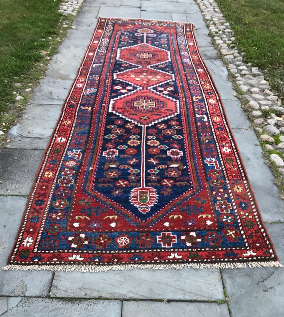 Magnificent beautiful antique Tribal runner/ Gallery Carpet c1920. In impeccable shape. Gorgeous vegetable dyed colors, animal motifs