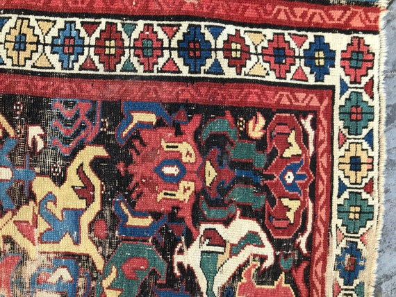 Caucasian rug, Antique Bidjov worn rug/ fragment.  3 x 5. 19th century, worn w/ holes. Deep  saturated vegetable dyes. Collector's fragment