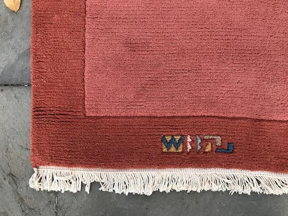 Vintage Tibetan rug, 4x6, beautiful shape, hand knotted, soft pile. pink vintage rug