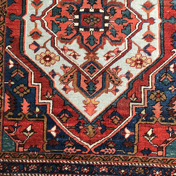 Highly collectible antique carpet, Hand knotted wool, organic dyes, gorgeous colors. Very good antique condition. 5 x 3,