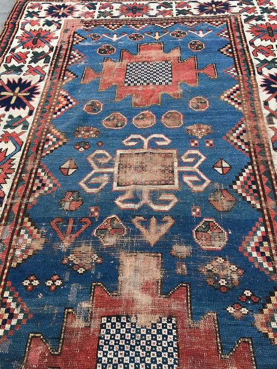 SOLD!Antique Caucasian rug, 19th Century. 266cm x 135cm, beautiful colors and craftsmanship