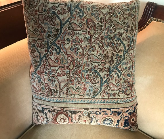 "Antique Senna pillow. 14"" x 17 1/2 in. Pillow made from beautiful ant. Senna. Finely knotted, beautiful design & colors. Burgundy and teal"