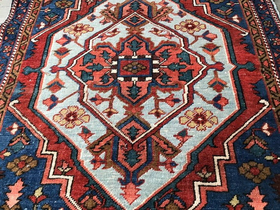 Antique tribal rug. Village made. c1920, vegetable dyed wool hand knotted to cotton foundation. Excellent shape, gorgeous colors, collectabl