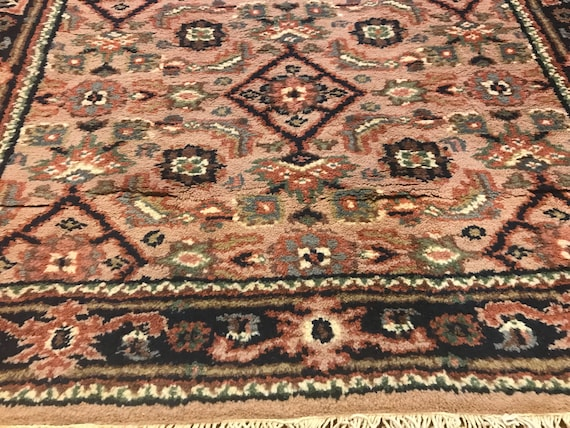 Vintage tribal rug. 3 x 5, c1950. Beautiful sort vegetable dyed wool. Hand knotted. Soft even pile, camel,pink, pale green