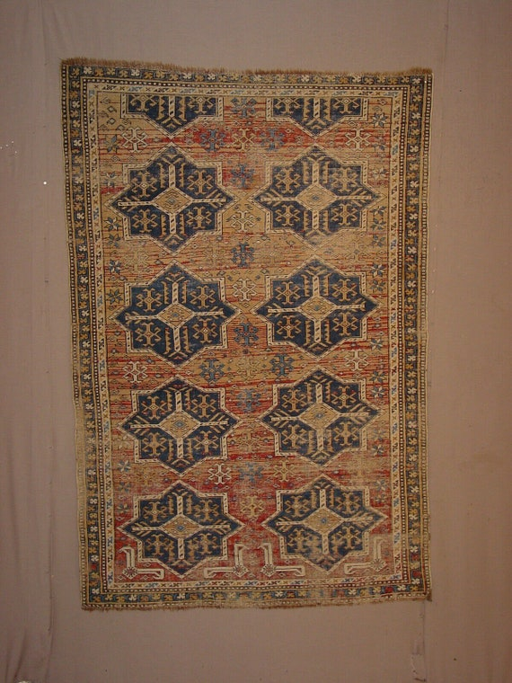Pre-1900, Very fine Shirvan Caucasian rug c1870, 4x6, Wool, organic  vegetable dyed colors, gorgeous gently worn antique