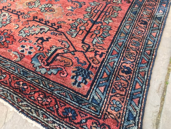 Vintage rug pink, 4 x 7 Persian Hamadan carpet, blue and pink. Rug is more the original plum color at one end. Very soft and lustrous wool.
