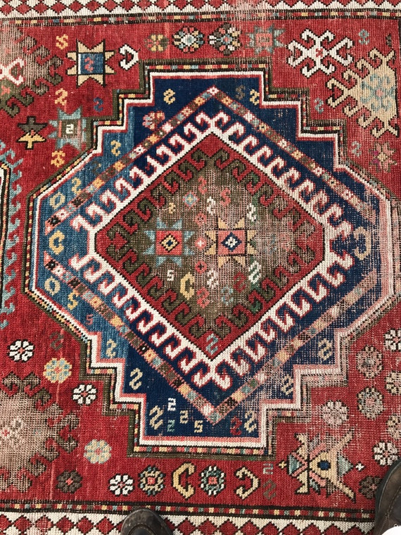 Antique Kazak, Large 19th century Caucasian rug. 9'x 6' Distressed 2 medallion Kazak. Beautiful colors and abrash. No holes. Azerbaijan