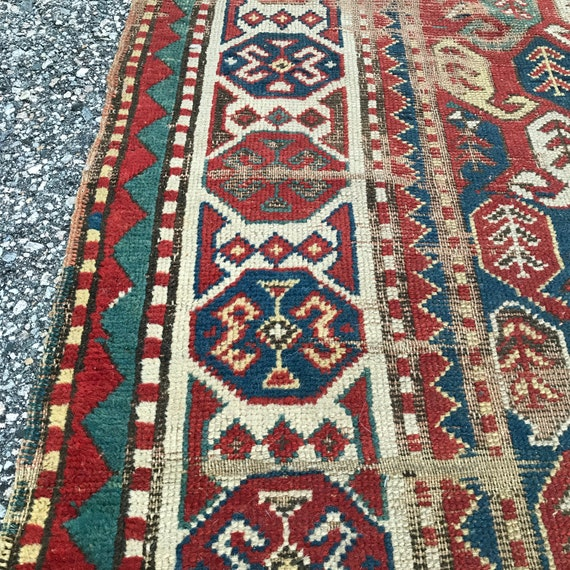 Antique Caucasian runner. Great price! c1890 hand knotted wool. All vegetable dyes. 9' x 3'10""