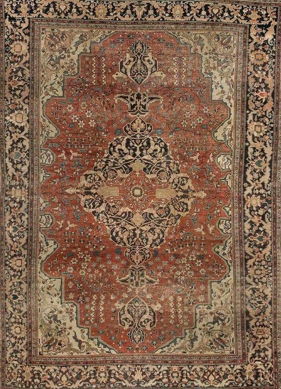 Magnificent 1890 Fereghan Saruk carpet 9x12.