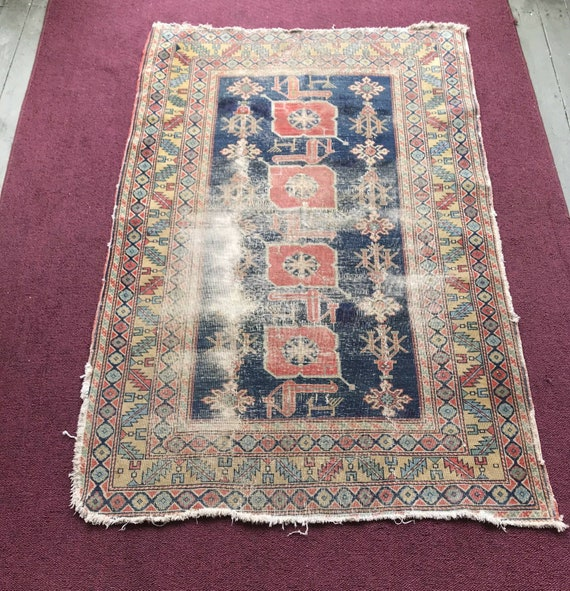 Caucasian rug, antique Caucasian Shirvan rug, worn, hand knotted wool rug ,brick red and Indigo. Figurative with stylized motifs. c1900