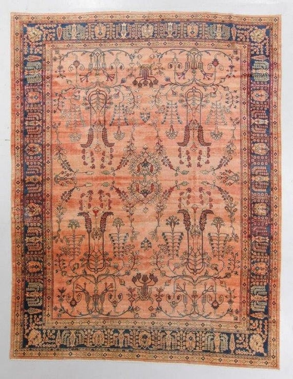 "Antique Sarouk rug 9x12, rare early Mahajiran Sarouk. Faded peach field, lovely drawing, hand knotted wool, vegetable dyes. 13'4"" x 10'5"""