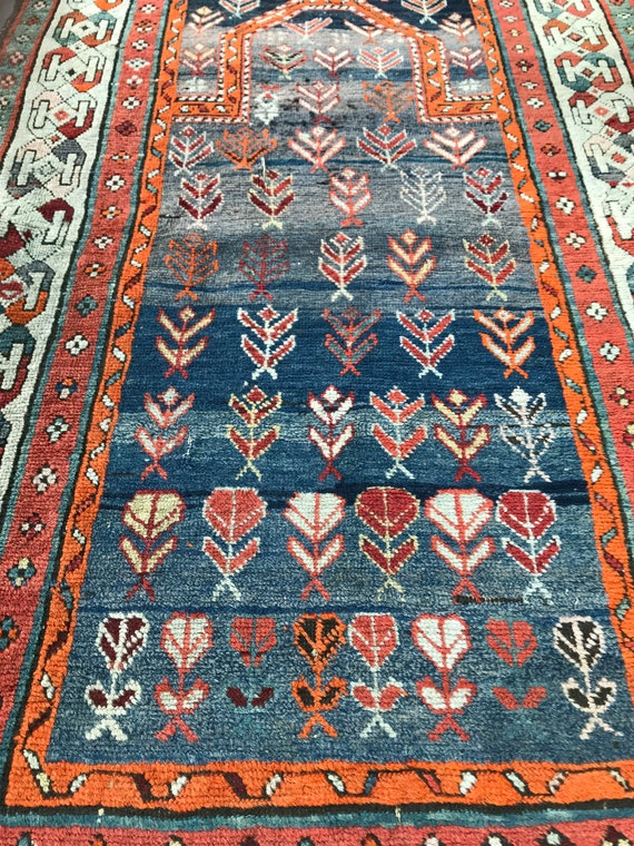 SOLD. tribal rug. 19th century Prayer rug, Caucasian rug. Veg. dyedSOLD wool hand knotted.  See picturesSOLD for beautiful faded colors