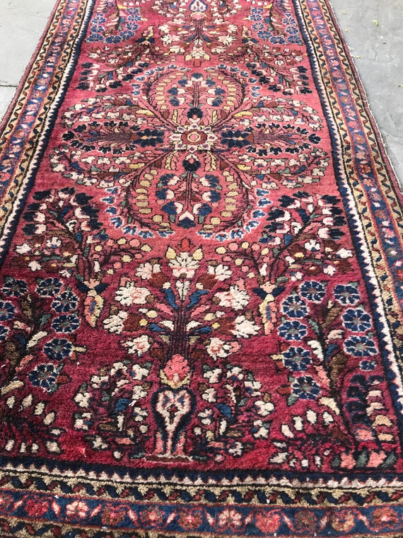 "Vintage hand knotted wool rug. Antique rug, c1930 Plum colored village de wool rug38"" x 19"", soft vegetable dyed colors, pink rug"