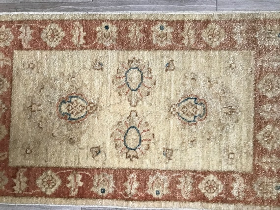 Small soft vintage hand knotted wool rug, 2x 3, soft vegetable dyes, 1970-1980. Great condition.