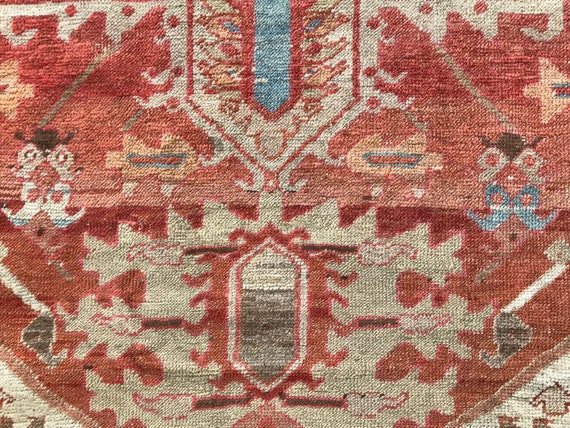 Vintage Turkish Serapi, unusual antique rug with colors softly faded on one end and oxidized on the other. Low pile, no holes or stains 4 x6