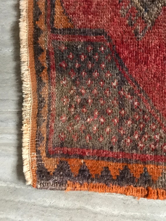 "Vintage Turkish rug. Tightly knotted wool with low soft pile. Very well made. 18"" 38"""