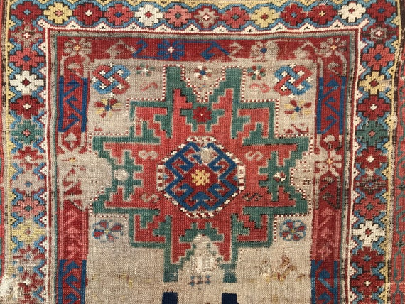 Antique Caucasian rug, worn Shirvan with beautiful vegetable dyed colors, all wool, c1880, rug is worn but still beautiful,  3x5 rug.