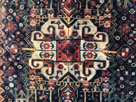 "Antique rug, tribal rug, 4 x 6  (5'4"" x 3'9"". All hand knotted vegetable dyed wool, low even pile, still soft c1880. Persian Shiraz Kashkoli"