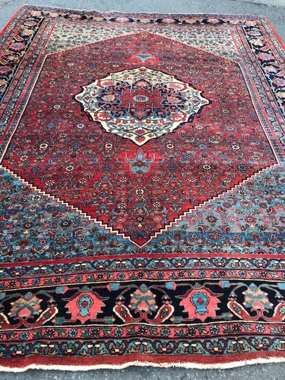Antique 9x12 carpet, very tightly hand knotted Bihar, all wool, organic vegetable dyes, some gentle wear and softening of colors