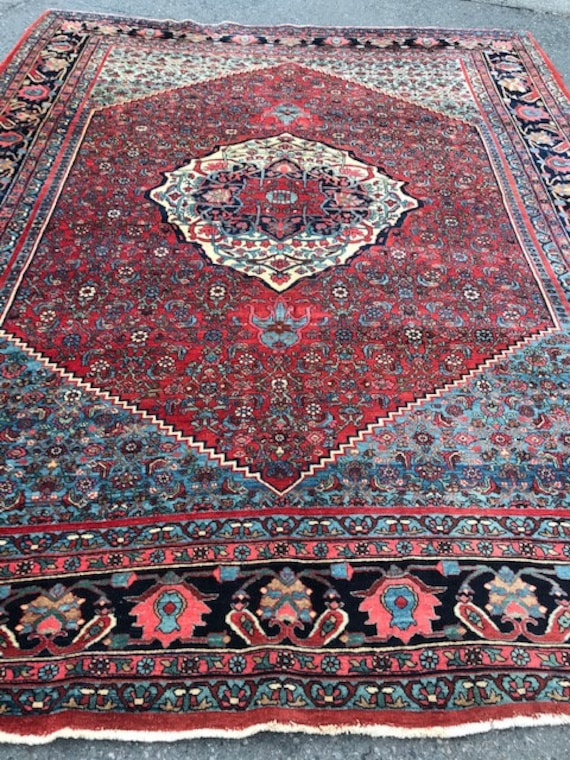 Antique 9x12 carpet, very tightly hand knotted Bijar, all wool, organic vegetable dyes, some gentle wear and softening of colors