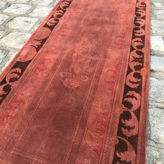 "Vintage Turkish Runner. 2' 6"" x 6' 5"" Soft wool rug, Brick red and espresso brown runner"