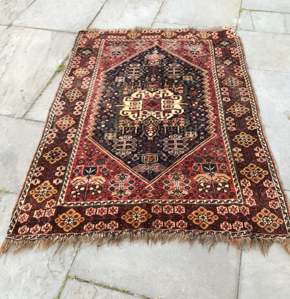 """Antique rug, Quashqa'i, Shiraz Kaskuli, 5'4"""" x 3'9"""", all hand knotted wool, organic vegetable dyes, nature motifs, woven by women of tribe."""