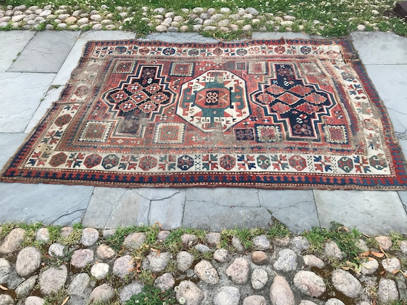 Antique Caucasian rug, Kazak c1890, 5x7 vintage hand knotted rug, organic dyes, brick red, teal, shades of blur, pink, wonderful wear