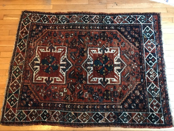 Vintage area rug. All wool antique tribal wedding rug. With swans, vegetable dyed wool. Very soft, distressed 3 x4, c1880. Hand knotted.