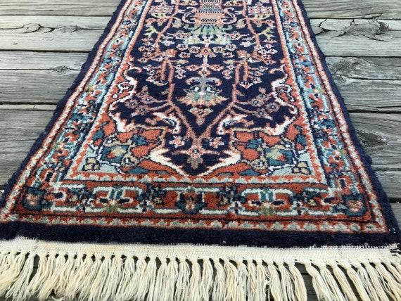 Vintage runner, hand knotted wool, deep indigo field with vase design. 5x2, Vintage  Agra rug, vintage Floral rug, small runner, soft pile