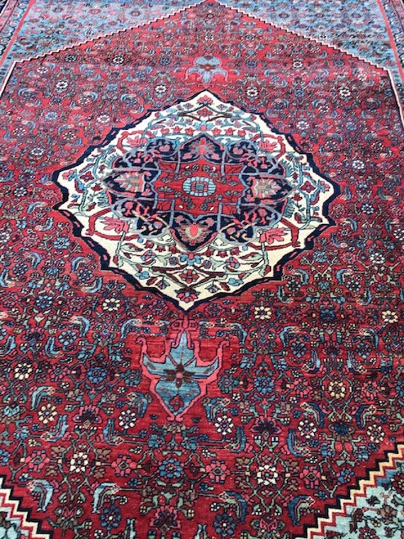 Vintage 9 x 12 carpet. Hand knotted Bijar, c 1920 all organic vegetable dyed wool