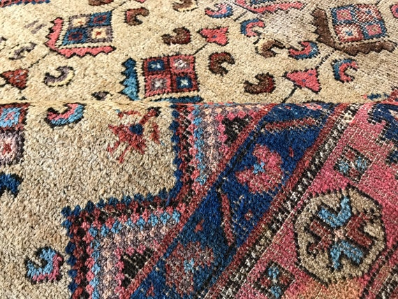Tribal rug,  4 x 7 wool and camel hair village Bidjar. Wonderful motifs and vegetable dyed c