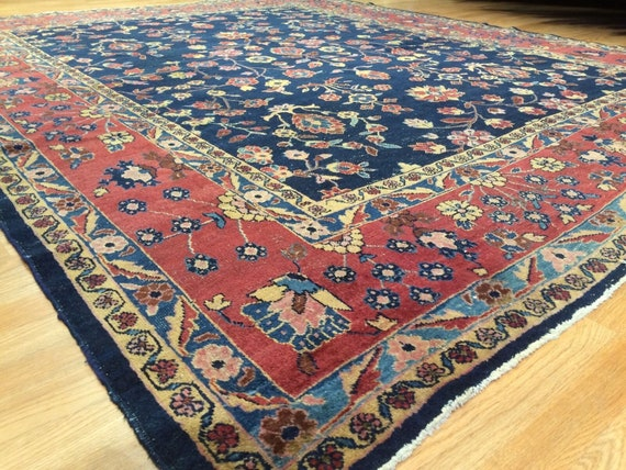 Antique area rug, hand knotted wool, blue field with floral motif, vegetable dyes have softened, 8x10,  c1910 Sarouk