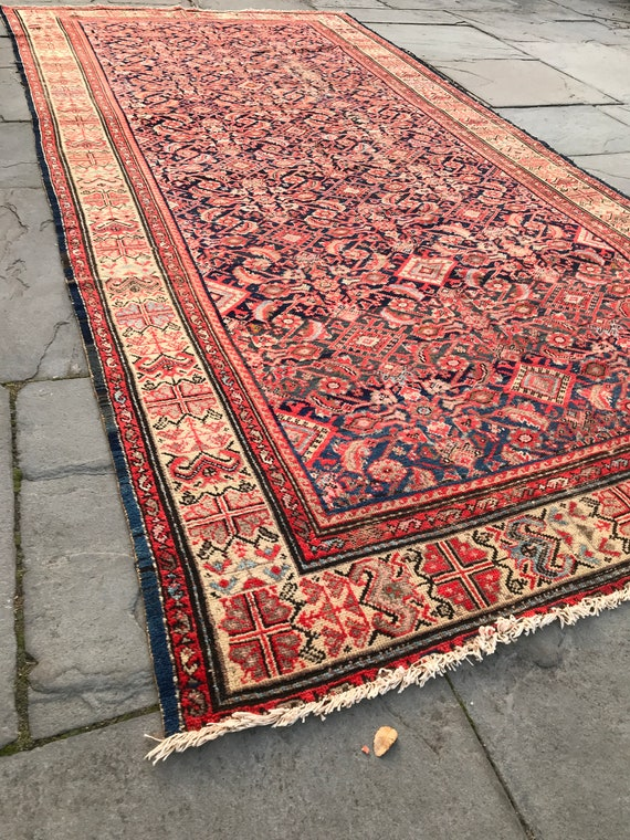 Antique Runner,5 x 10, Antique Malayer. All over Herati pattern. Tribal border, wonderful vegetable dyes,  orange, pink, blue, distressed.