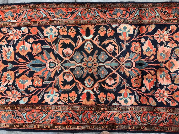 "Vintage hand knotted 3 x 5 rug. Orange, blue, aqua, gold, stunning collector's antique Persian Malayer, 2'7""X 4'11"" c1890 2'7"" x 5'9"" c 1890"
