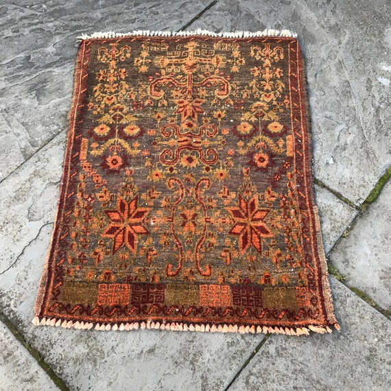 Vintage orange rug, 2x3, hand knotted wool on cotton, some light wear,Wonderful vegetable dyed colors, teal, mustard, orange. Al Khajer rug