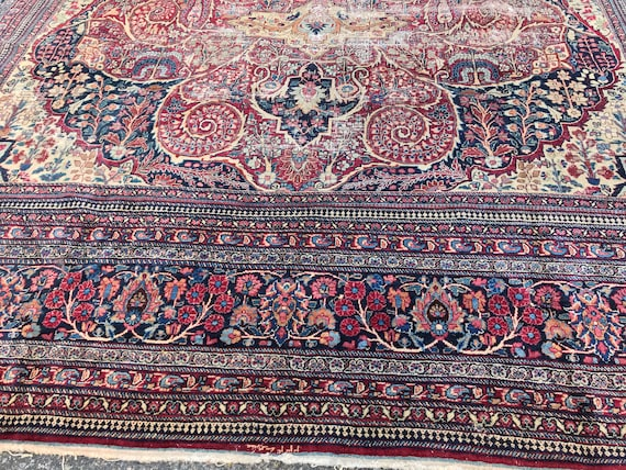 "Large distressed antique carpet. Hand knotted wool, vegetable dyes, beautiful rug with bohemian attitude , 16'5"" x 11'10""  Signed"