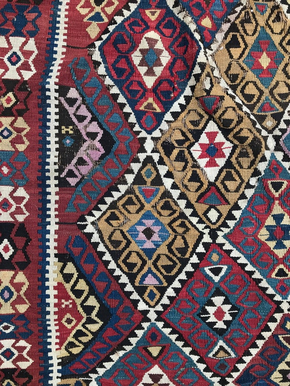 "Antique Kilim 12'6"" x 5'8', All vegetable dyed wool, fantastic colors, wear appropriate for age."