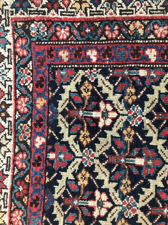 "SOLD. Antique tribal rug, c1890, beautiful tight knotting, low pile, all over Kuba rug pattern, vegetable dyed wool. 3'4"" x 4' SOLD"