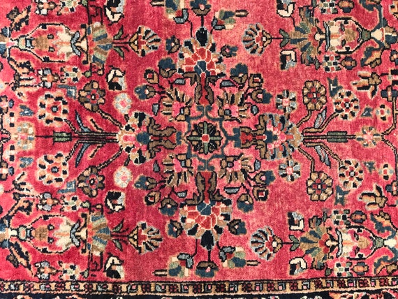 "Pretty little pink rug. Antique Sarouk Lillihan, Lillian, Liliyan. 24"" x 35"" small Antique hand knotted Village rug."