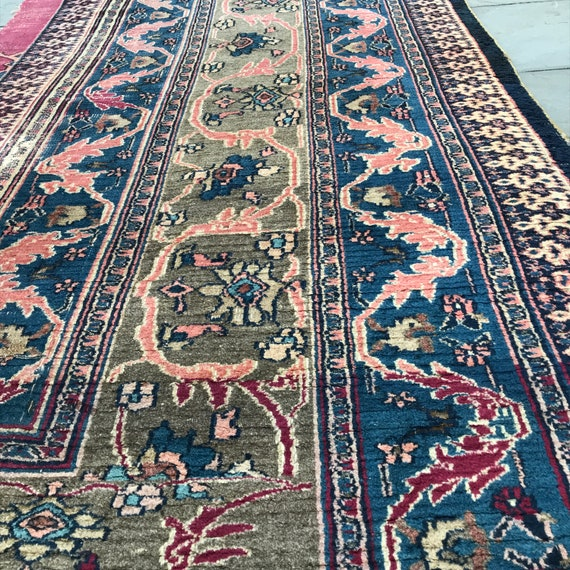 "Antique border fragment runner. 16'7"" x 47"". Tightly hand knotted wool, vegetable dyes. Back looks like flat weave. Side or end of Dorokhsh."