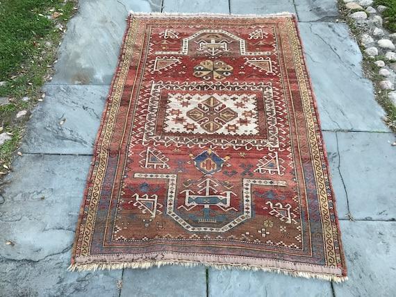 Antique Caucasian rug, Fachralo Kazak, c1900, 3x5, intact, wool w/ vegetable dyed colors