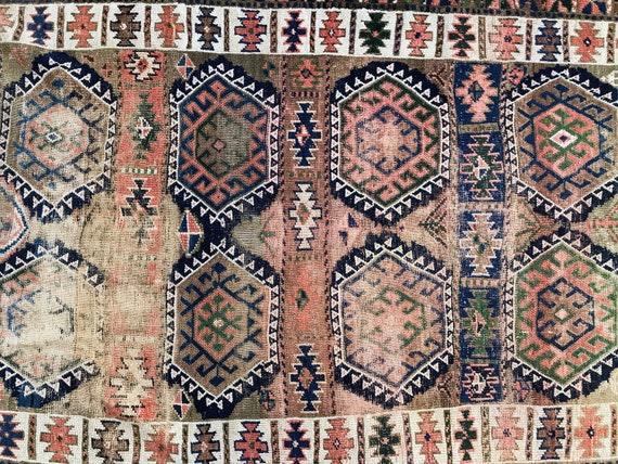 Antique Caucasian rug. Antique runner, Pre 1900, all wool, hand knotted, organic dyes, 8ft 4in x 4ft 5in.  Tribal pattern,  amazing colors