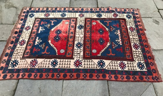 SOLD Turkish rug, 4x6 Bergama, soft fading and wear. Wonderful tribal motifs, vintage Turkish rug