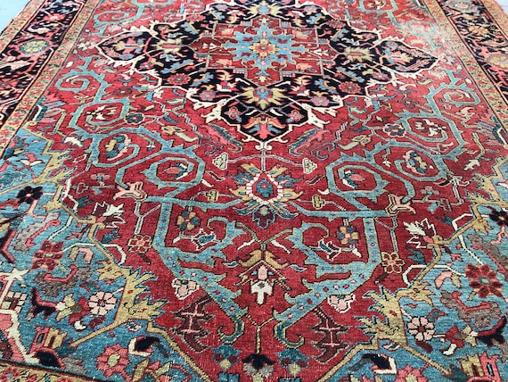 Antique Heriz carpet. Vintage 8x11 rug. Hand knotted wool beautiful vegetable dyes, organic dyed wool tribal carpet. Mediterranean blue, red