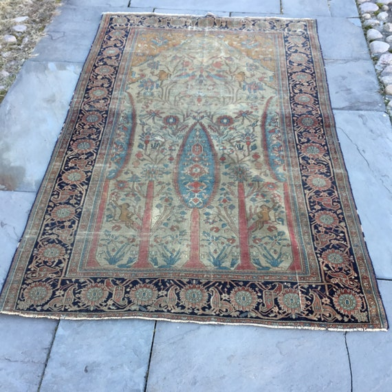 Antique, pre 1900 , very fine but worn 4x 6 Prayer rug. Hand knotted vegetable dyed wool.  Great Wall piece. Soft and lovely colors