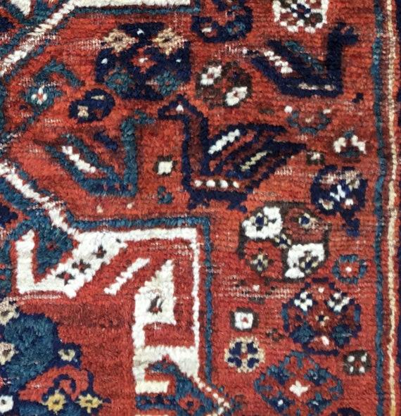 Antique Caucasian tribal  Lori Kazak, made c1900 near Aberjanian. Classic Caucasian borders, gorgeous vegetable dyed wool. Some wear