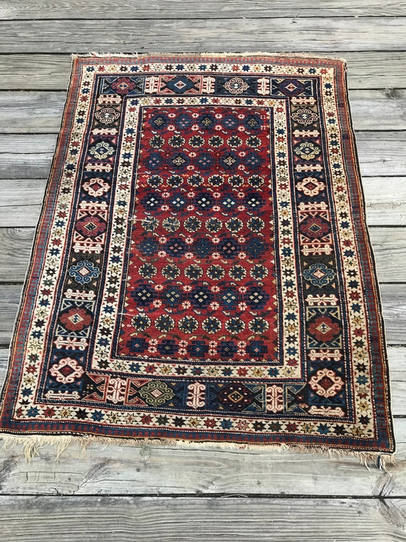 "Antique Caucasian rug, Kuba Chi Chi. C1890. Beautifully designed and crafted. Very fine knotting. Vegetable dyed wool. 39"" x 52"" soft pile."