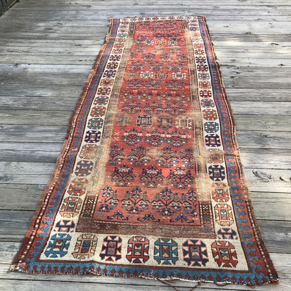 "Antique Caucasian rug, runner, c1880, worn. Nomadic tribal piece 10'6"" x 3' 10"", all wool, organic dyes, wonderful primitive drawing."