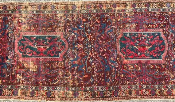 Antique Caucasian rug, large Kuba Gallery carpet, Caucasian runner 5 x 11. RARE. Phoenix design, All wool with beautiful organic colors